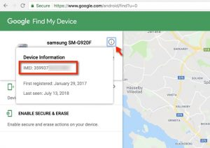 To see the IMEI number of your device click on the info. icon