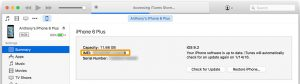 IMEI number in iTunes